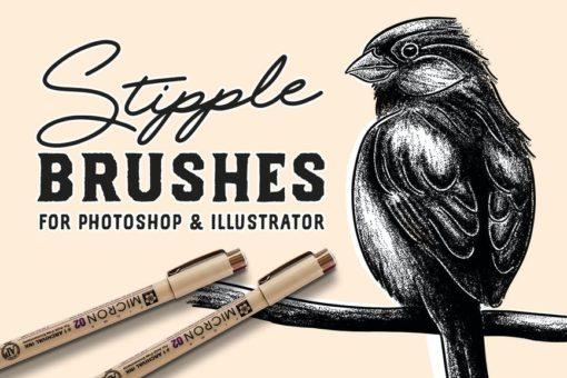 stipple brush set for photoshop and illustrator brushespack